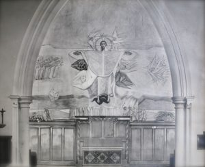 Commissioning of the mural in St Columba's by the Castle 1959