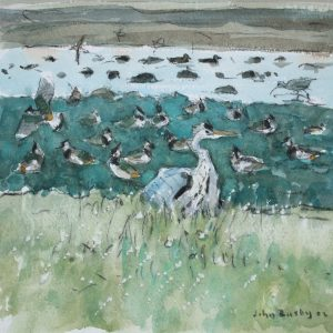 Heron and Lapwings, Aberlady by John Busby