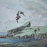 Sheep Craig, Fair Isle, watercolour by John Busby